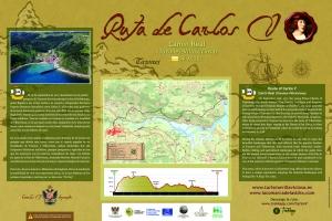 Cartel de la ruta creada con motivo del Quinto centenario del desembarco de Carlos V en Tazones (Asturias)