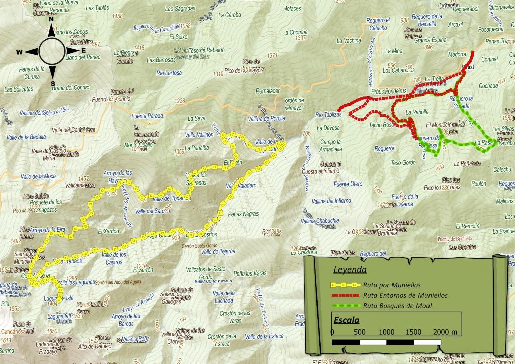 Mapa de rutas del entorno de Muniellos. Creación de cartografía para webs y folletos turísticos